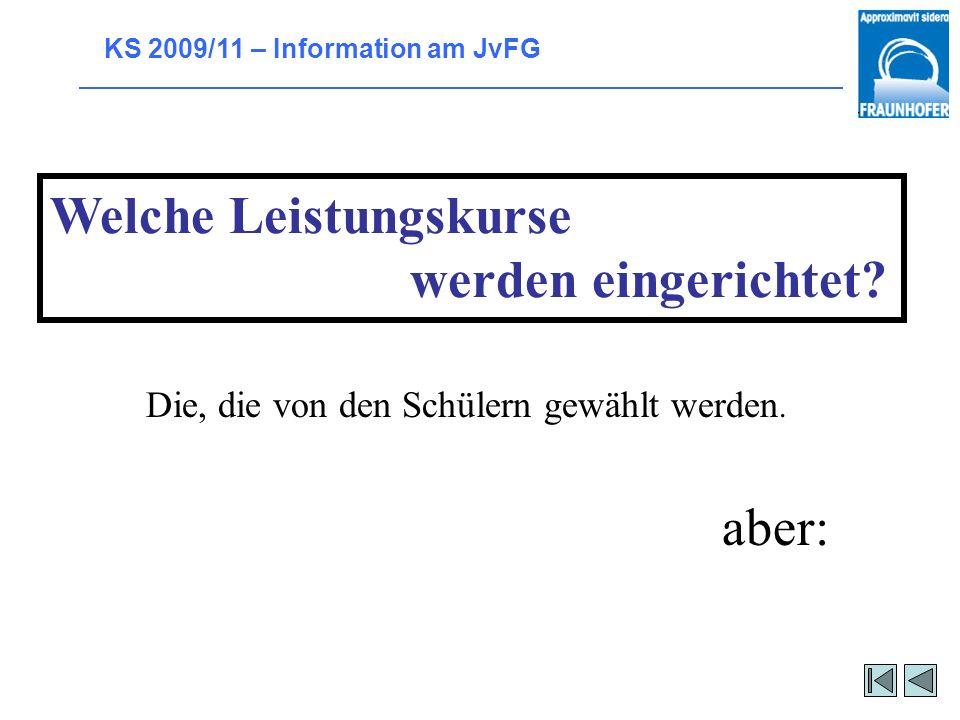 KS 2009/11 – Information am JvFG Voraussetzungen für die LK-Wahl Normal: Note 4 im Halbjahreszeugnis der 11. Jgst. Für LK Kunst: Note 3 in Jgst. 11 Fü