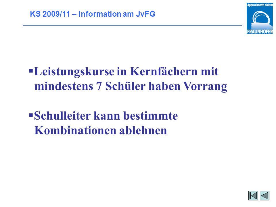 KS 2009/11 – Information am JvFG Welche Leistungskurse werden eingerichtet? Die, die von den Schülern gewählt werden. aber: