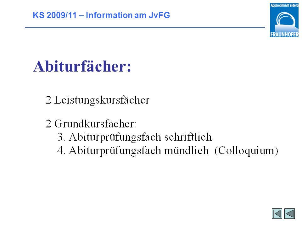 KS 2009/11 – Information am JvFG Welche Fächer habe ich im Abitur?