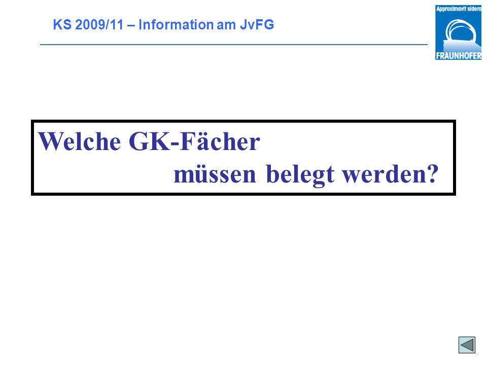 KS 2009/11 – Information am JvFG Es gelten folgende Regelungen: mind. 2 Kernfächer Deutsch oder fortgeführte Fremdsprache Jedes Aufgabenfeld muss abge