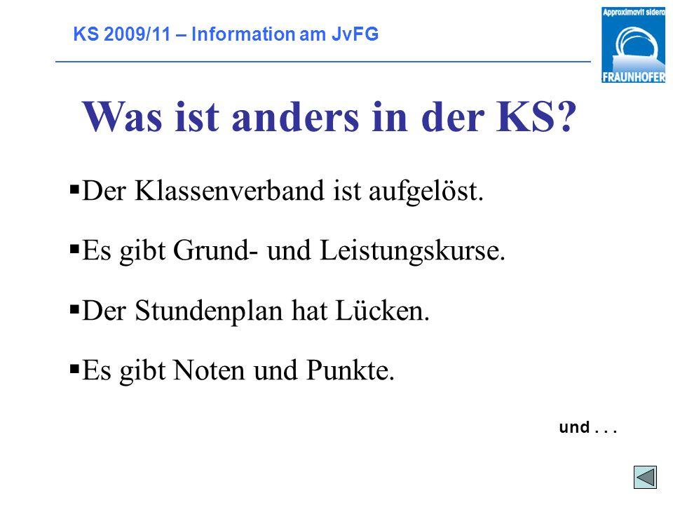 KS 2009/11 – Information am JvFG Ziele Vertiefte Allgemeinbildung Allgemeine, nicht fachbezogene Studierfähigkeit Voraussetzung für eine berufliche Au