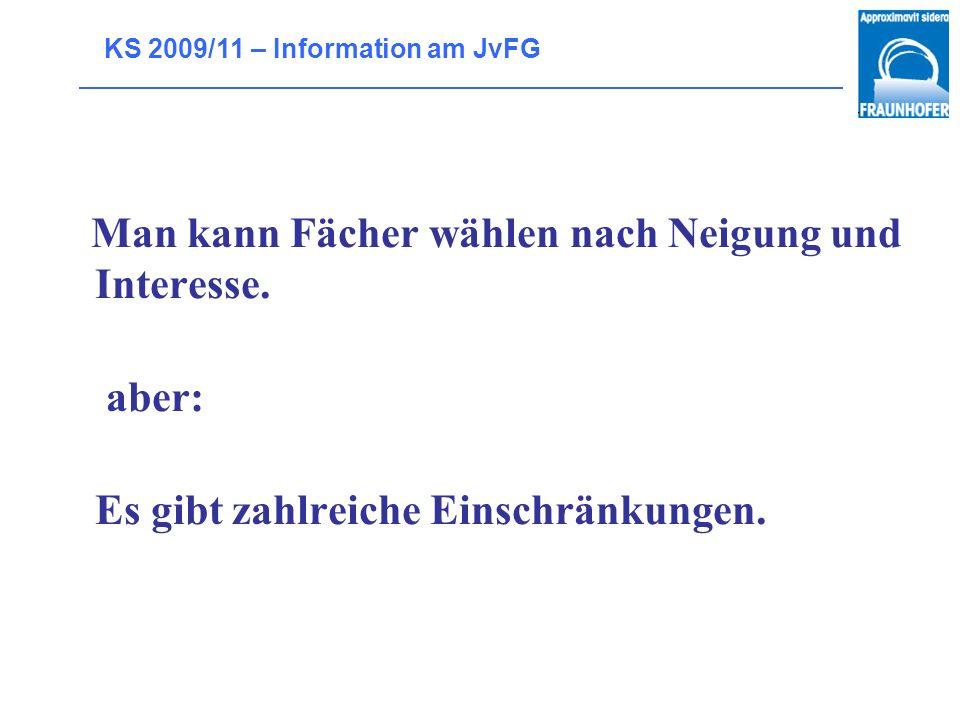 KS 2009/11 – Information am JvFG Voraussetzungen für die LK-Wahl Normal: Note 4 im Halbjahreszeugnis der 11.