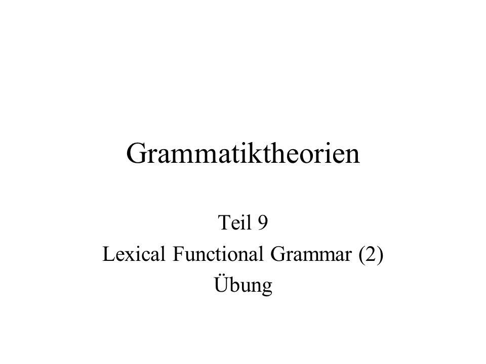 Grammatiktheorien Teil 9 Lexical Functional Grammar (2) Übung