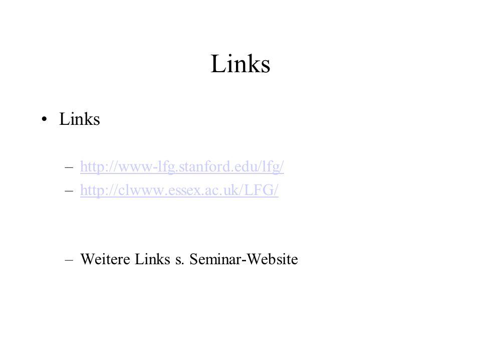 Links –http://www-lfg.stanford.edu/lfg/http://www-lfg.stanford.edu/lfg/ –http://clwww.essex.ac.uk/LFG/http://clwww.essex.ac.uk/LFG/ –Weitere Links s.