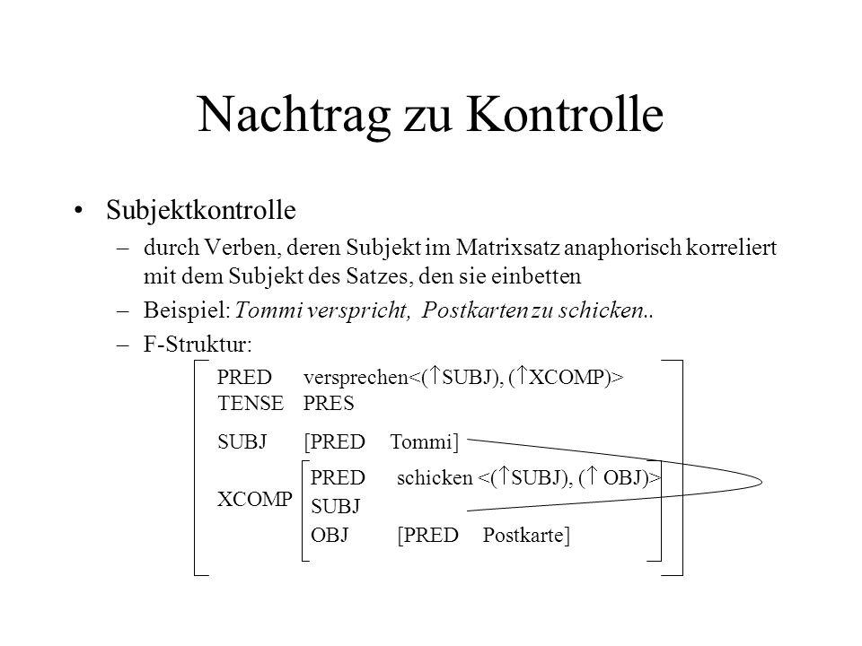 Nachtrag zu Kontrolle Subjektkontrolle –durch Verben, deren Subjekt im Matrixsatz anaphorisch korreliert mit dem Subjekt des Satzes, den sie einbetten