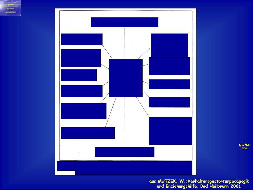 aus MUTZEK, W.:Verhaltensgestörtenpädagogik und Erziehungshilfe, Bad Heilbrunn 2001 © SfEH LDK