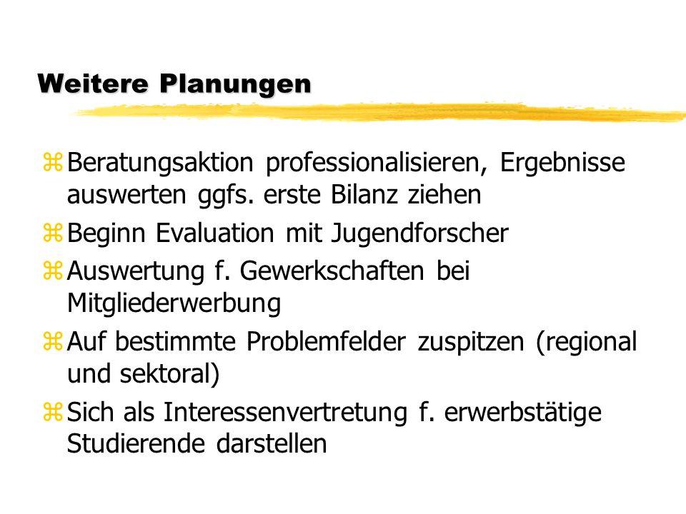 Weitere Planungen zBeratungsaktion professionalisieren, Ergebnisse auswerten ggfs.
