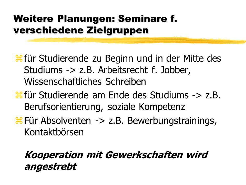 Weitere Planungen: Seminare f.