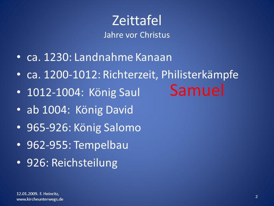 Zeittafel Jahre vor Christus ca. 1230: Landnahme Kanaan ca. 1200-1012: Richterzeit, Philisterkämpfe 1012-1004: König Saul ab 1004: König David 965-926