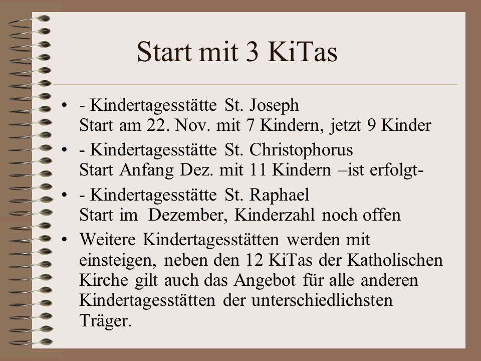 Start mit 3 KiTas - Kindertagesstätte St. Joseph Start am 22. Nov. mit 7 Kindern, jetzt 9 Kinder - Kindertagesstätte St. Christophorus Start Anfang De