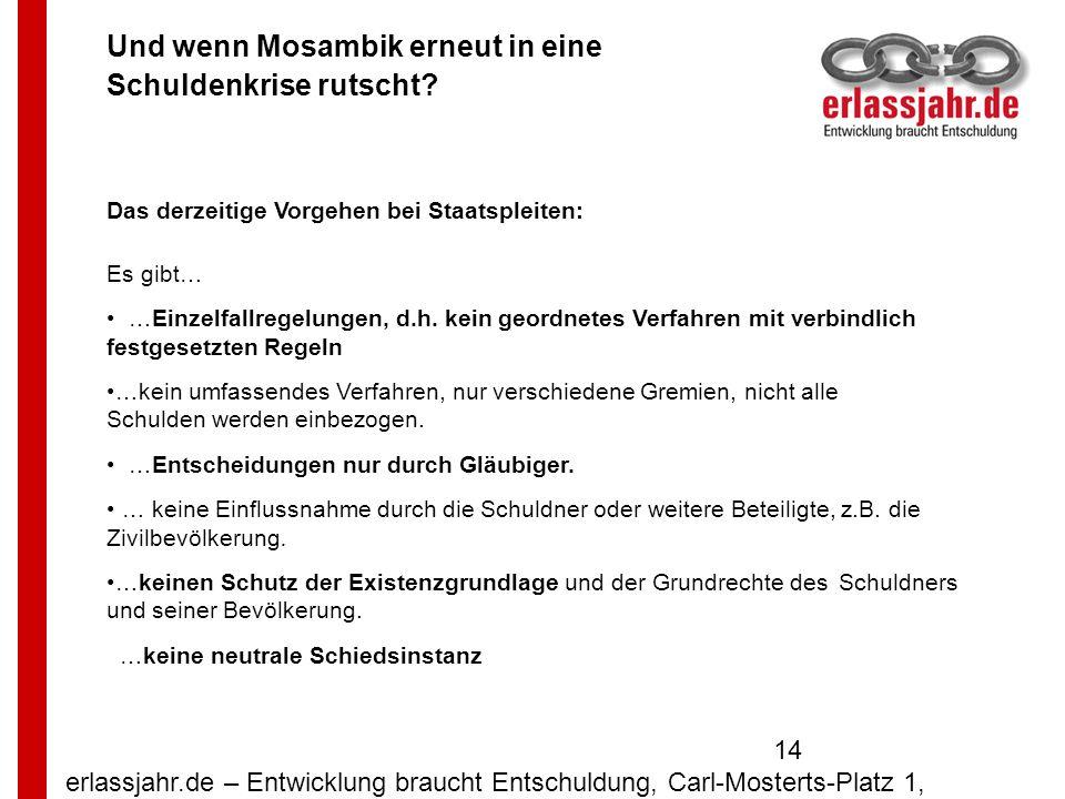 erlassjahr.de – Entwicklung braucht Entschuldung, Carl-Mosterts-Platz 1, 40477 Düsseldorf 14 Und wenn Mosambik erneut in eine Schuldenkrise rutscht? D