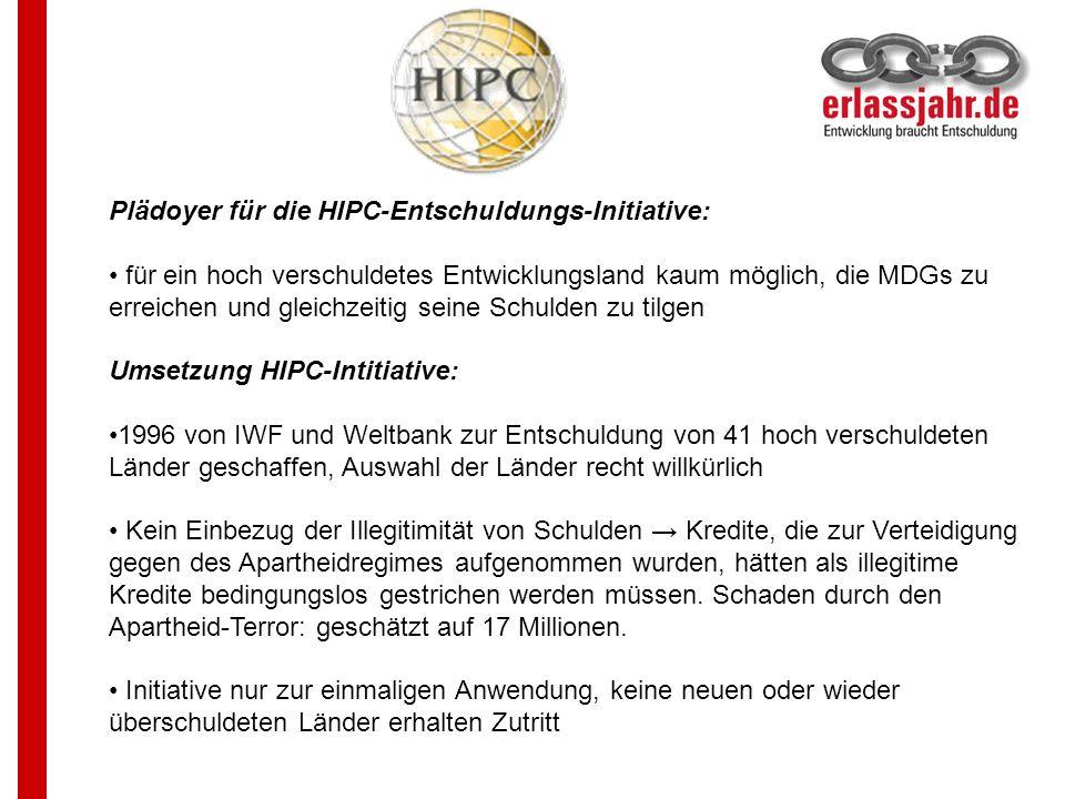 Plädoyer für die HIPC-Entschuldungs-Initiative: für ein hoch verschuldetes Entwicklungsland kaum möglich, die MDGs zu erreichen und gleichzeitig seine