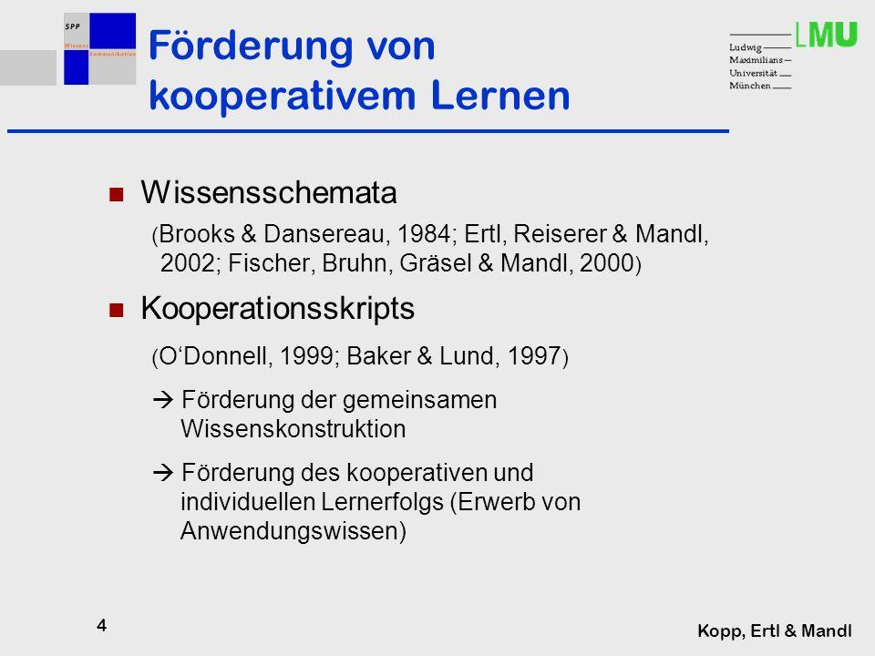 4 Kopp, Ertl & Mandl Wissensschemata ( Brooks & Dansereau, 1984; Ertl, Reiserer & Mandl, 2002; Fischer, Bruhn, Gräsel & Mandl, 2000 ) Kooperationsskripts ( ODonnell, 1999; Baker & Lund, 1997 ) Förderung der gemeinsamen Wissenskonstruktion Förderung des kooperativen und individuellen Lernerfolgs (Erwerb von Anwendungswissen) Förderung von kooperativem Lernen
