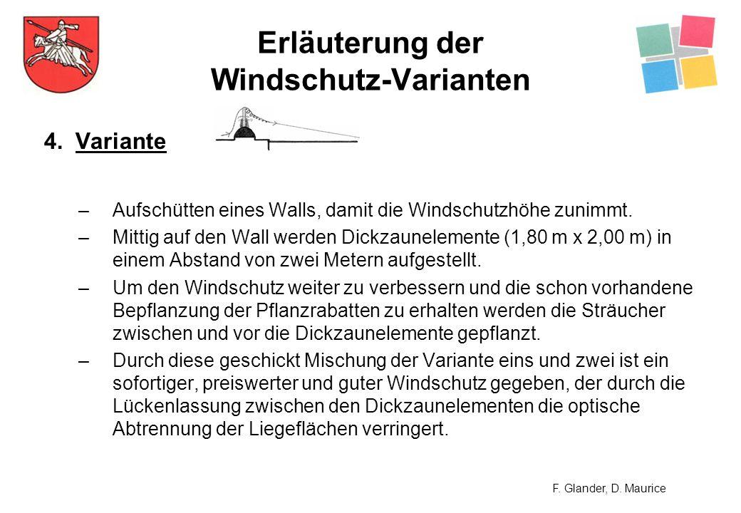 Erläuterung der Windschutz-Varianten 4. Variante –Aufschütten eines Walls, damit die Windschutzhöhe zunimmt. –Mittig auf den Wall werden Dickzauneleme