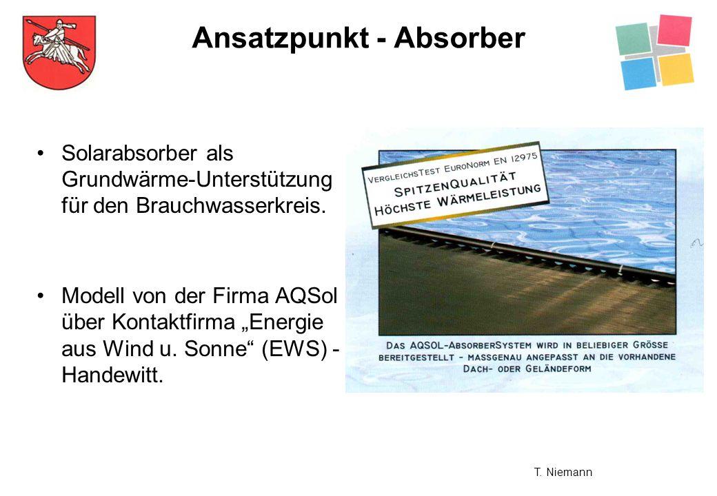 Solarabsorber als Grundwärme-Unterstützung für den Brauchwasserkreis. Modell von der Firma AQSol über Kontaktfirma Energie aus Wind u. Sonne (EWS) - H