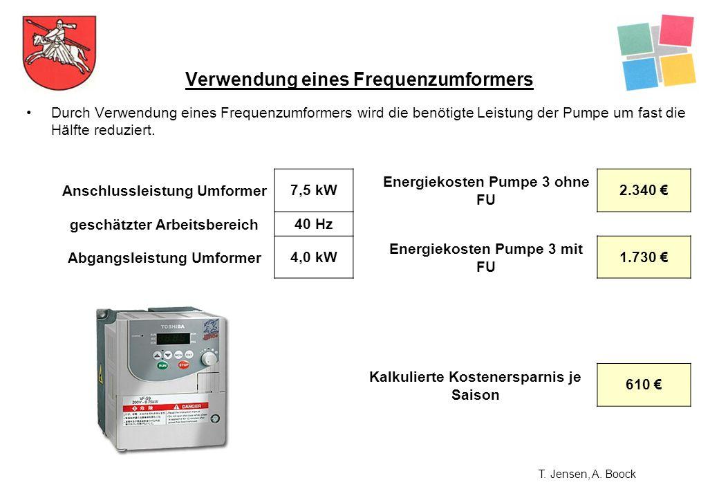 Durch Verwendung eines Frequenzumformers wird die benötigte Leistung der Pumpe um fast die Hälfte reduziert. Verwendung eines Frequenzumformers Anschl