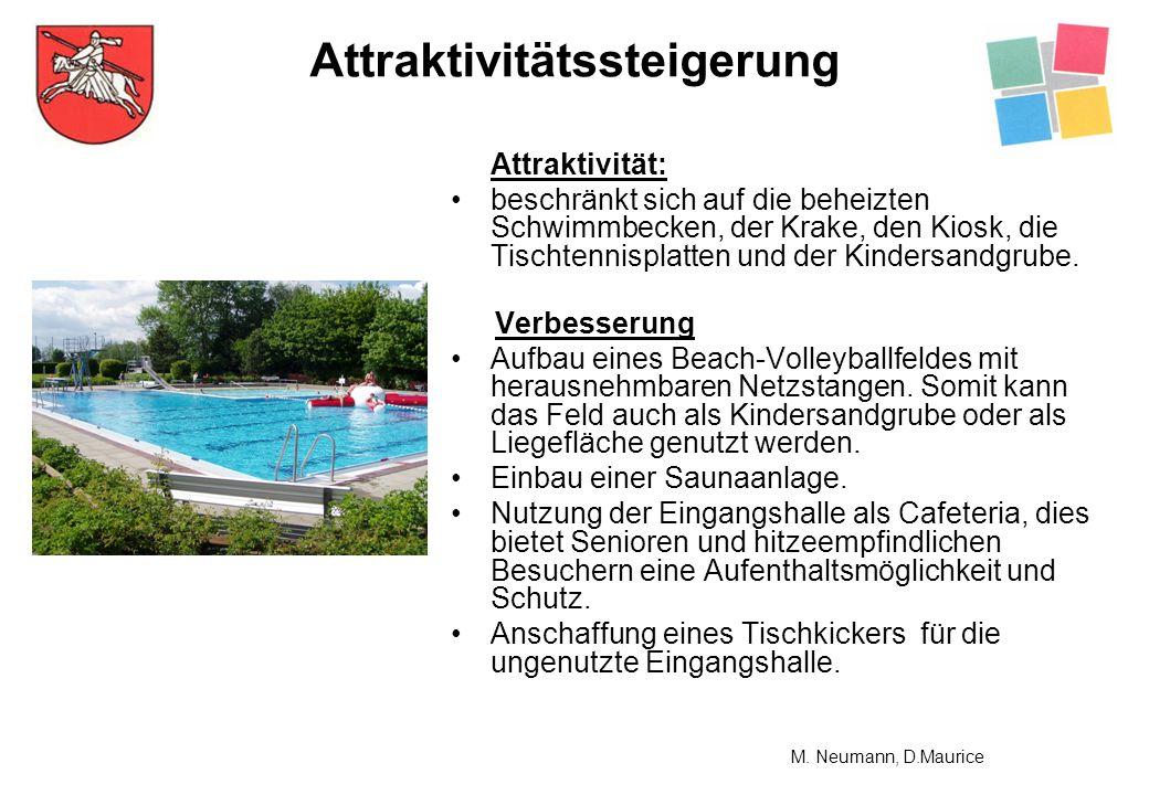 Attraktivität: beschränkt sich auf die beheizten Schwimmbecken, der Krake, den Kiosk, die Tischtennisplatten und der Kindersandgrube. Verbesserung Auf