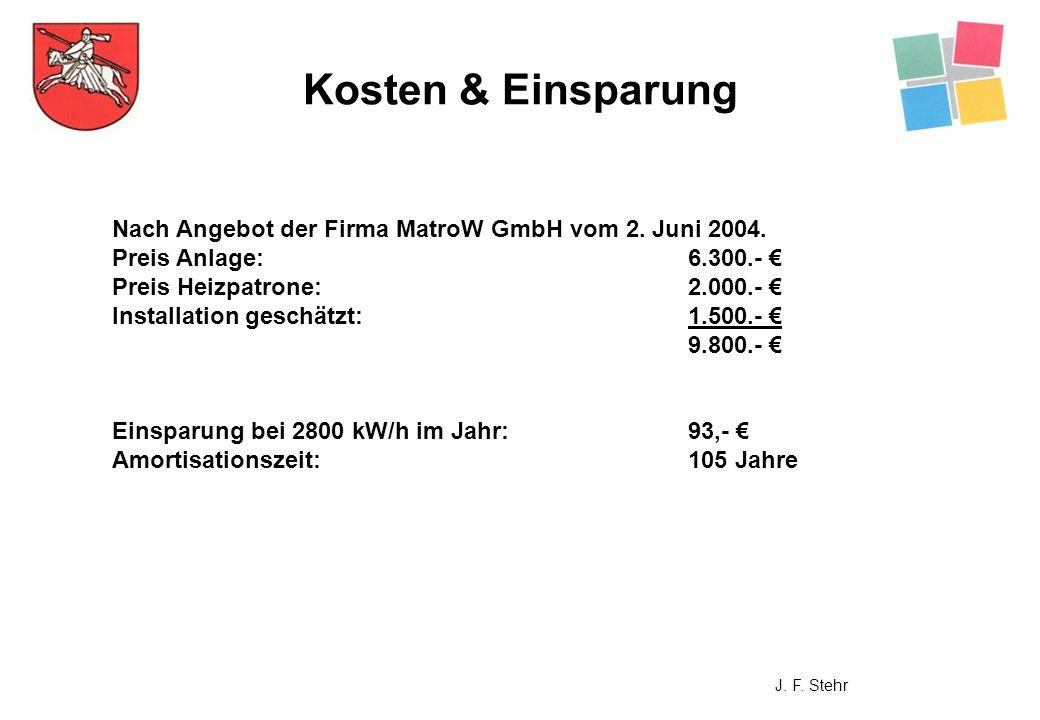 Kosten & Einsparung Nach Angebot der Firma MatroW GmbH vom 2. Juni 2004. Preis Anlage:6.300.- Preis Heizpatrone:2.000.- Installation geschätzt:1.500.-