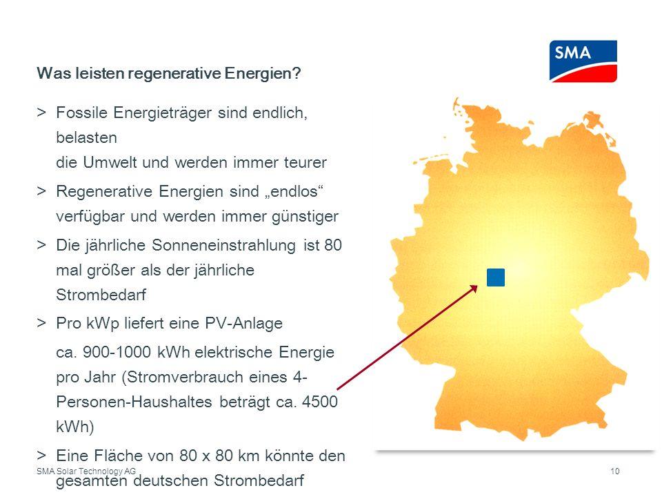 SMA Solar Technology AG Fossile Energieträger sind endlich, belasten die Umwelt und werden immer teurer Regenerative Energien sind endlos verfügbar un