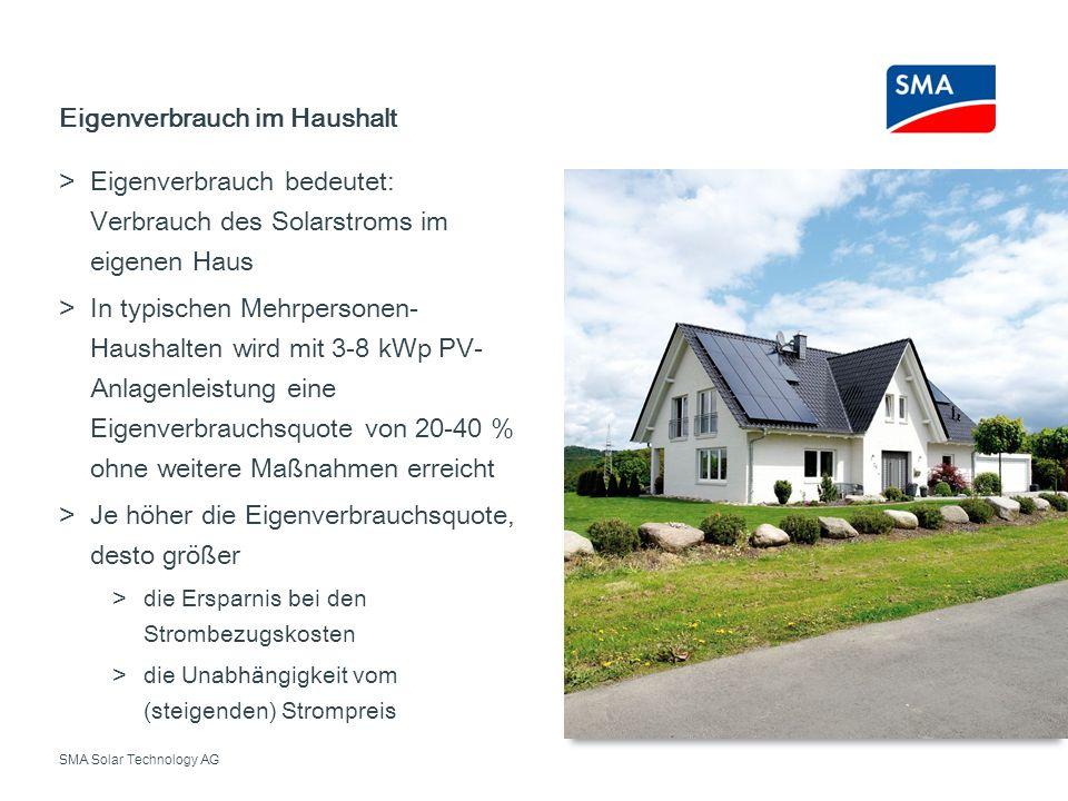 SMA Solar Technology AG Eigenverbrauch bedeutet: Verbrauch des Solarstroms im eigenen Haus In typischen Mehrpersonen- Haushalten wird mit 3-8 kWp PV-