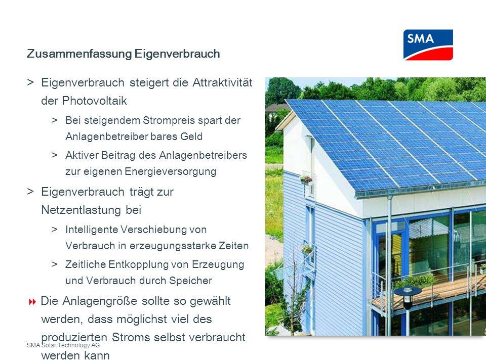 SMA Solar Technology AG Eigenverbrauch steigert die Attraktivität der Photovoltaik Bei steigendem Strompreis spart der Anlagenbetreiber bares Geld Akt