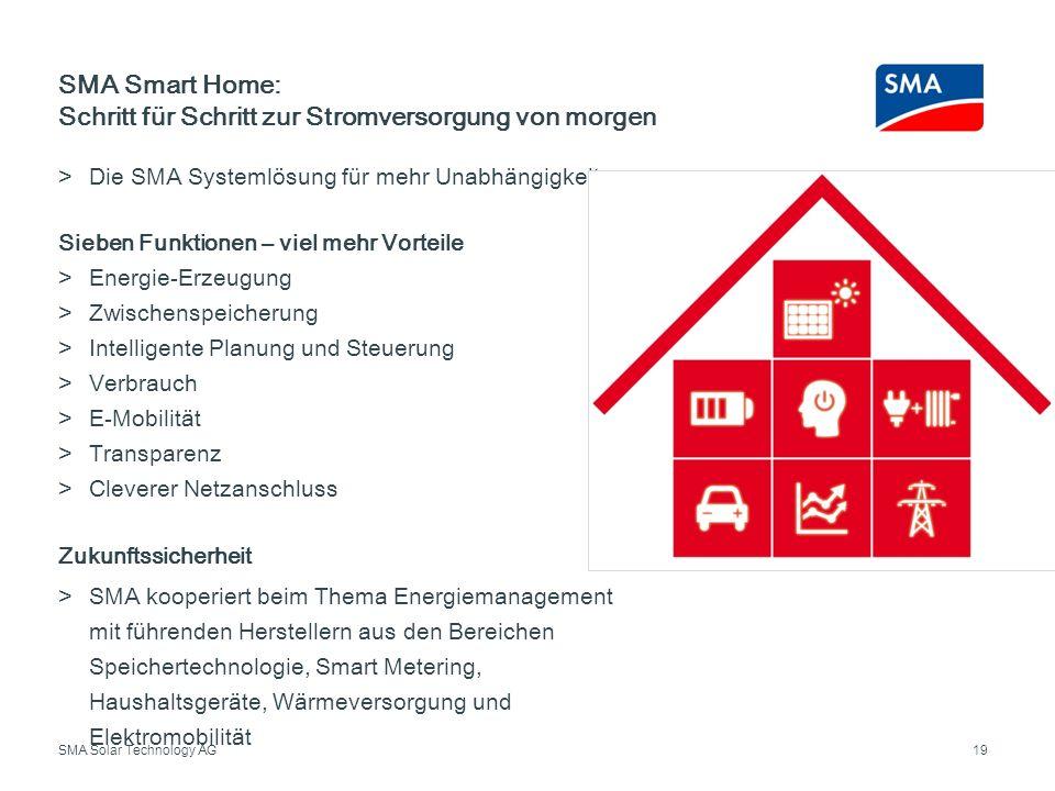SMA Solar Technology AG Die SMA Systemlösung für mehr Unabhängigkeit Sieben Funktionen – viel mehr Vorteile Energie-Erzeugung Zwischenspeicherung Inte