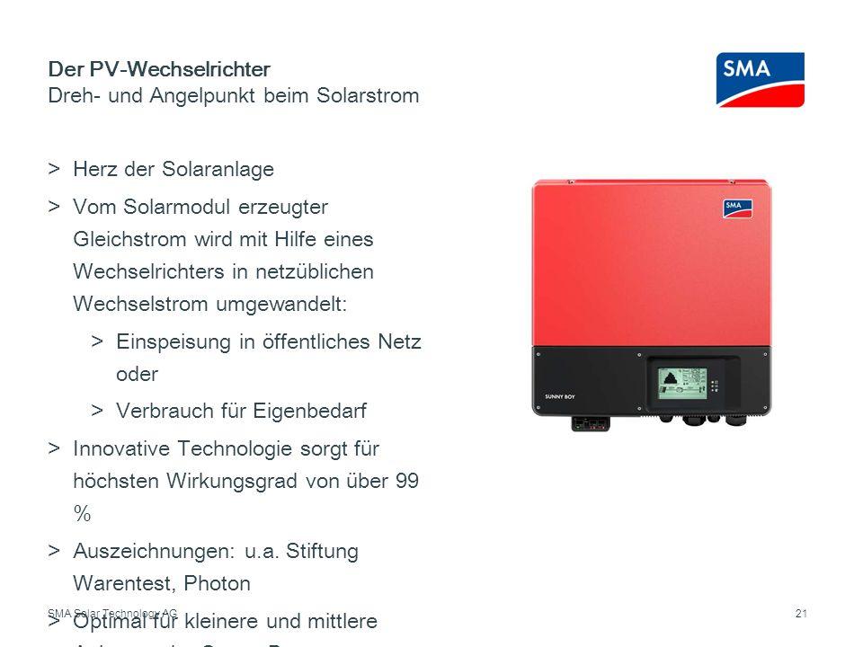 SMA Solar Technology AG Herz der Solaranlage Vom Solarmodul erzeugter Gleichstrom wird mit Hilfe eines Wechselrichters in netzüblichen Wechselstrom um