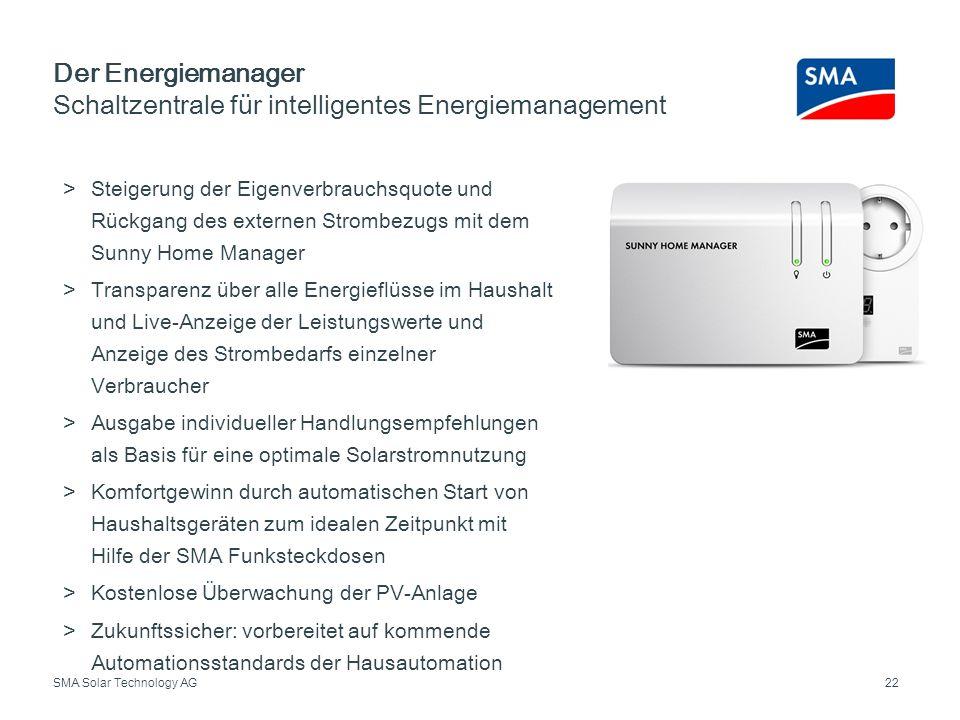SMA Solar Technology AG Der Energiemanager Schaltzentrale für intelligentes Energiemanagement 22 Steigerung der Eigenverbrauchsquote und Rückgang des