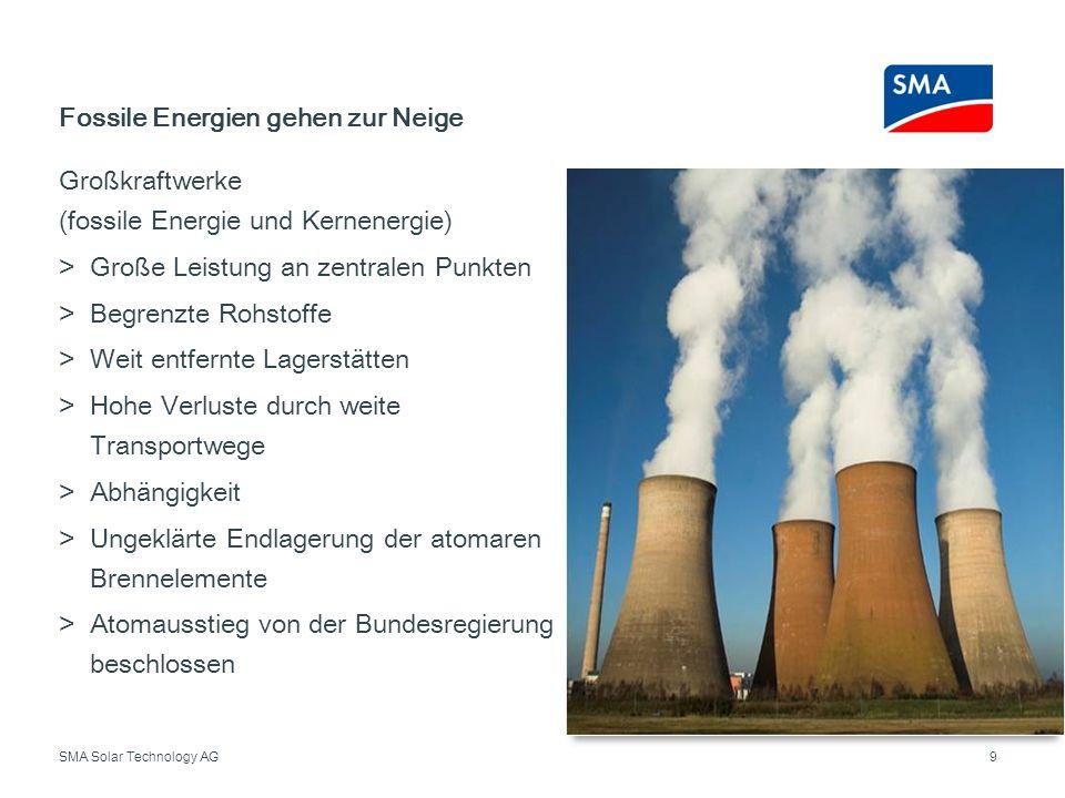 SMA Solar Technology AG Großkraftwerke (fossile Energie und Kernenergie) Große Leistung an zentralen Punkten Begrenzte Rohstoffe Weit entfernte Lagers