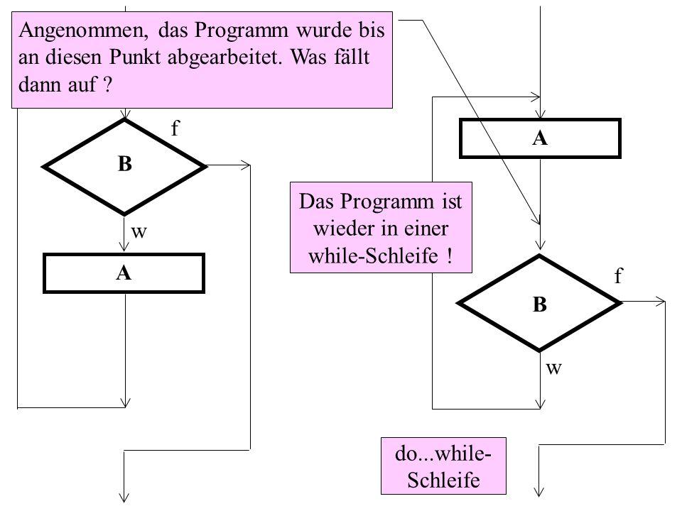 B f w A do...while- Schleife B f w A Angenommen, das Programm wurde bis an diesen Punkt abgearbeitet. Was fällt dann auf ? Das Programm ist wieder in