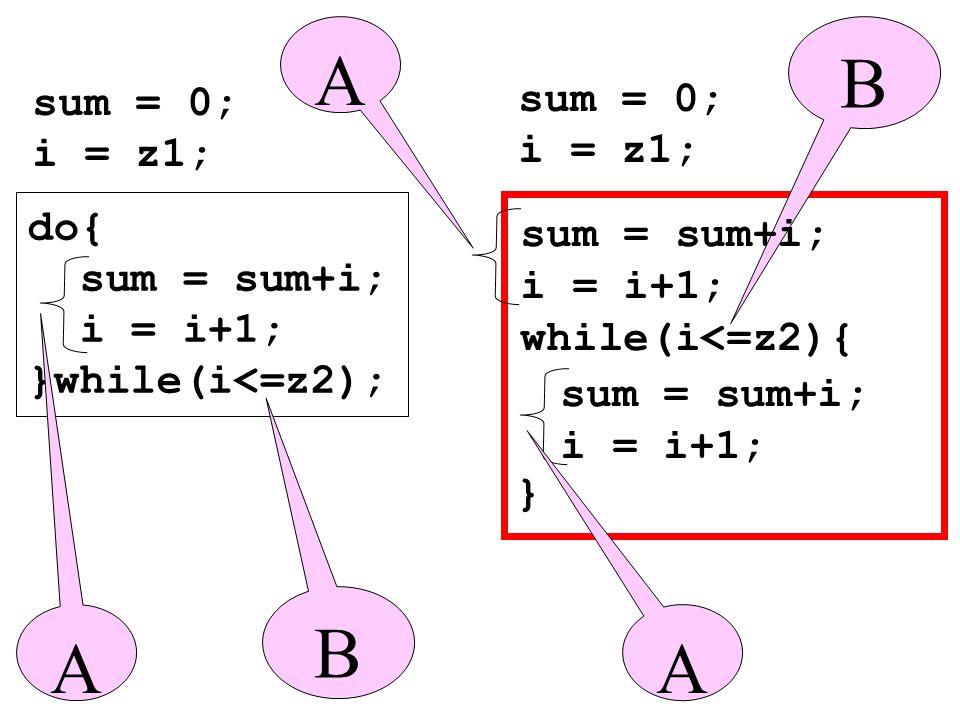 do{ sum = sum+i; i = i+1; }while(i<=z2); sum = 0; i = z1; } sum = 0; i = z1; B A A B A sum = sum+i; i = i+1; sum = sum+i; i = i+1; while(i<=z2){