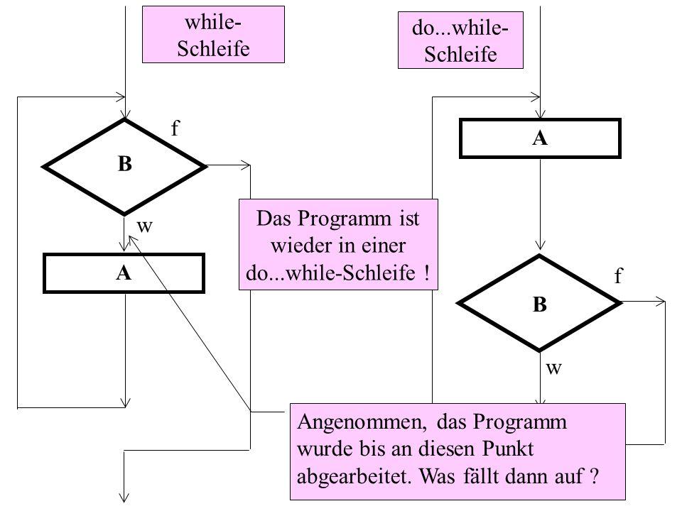 B f w A B f w A Angenommen, das Programm wurde bis an diesen Punkt abgearbeitet. Was fällt dann auf ? do...while- Schleife while- Schleife Das Program