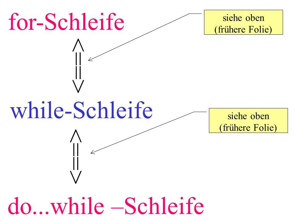 for-Schleife siehe oben (frühere Folie) siehe oben (frühere Folie) while-Schleife do...while –Schleife