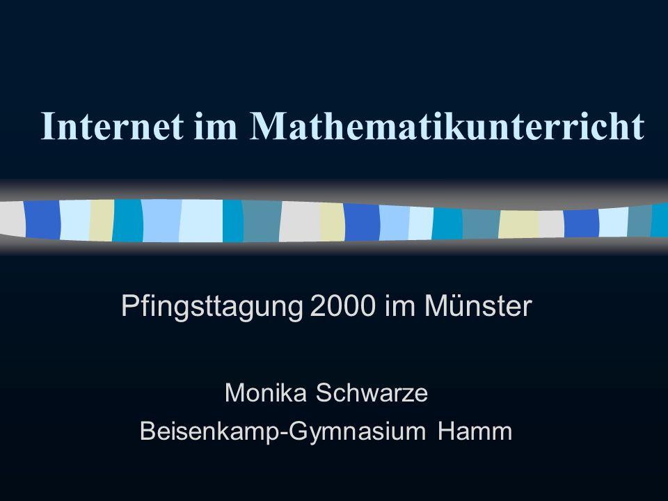 Internet im Mathematikunterricht Pfingsttagung 2000 im Münster Monika Schwarze Beisenkamp-Gymnasium Hamm