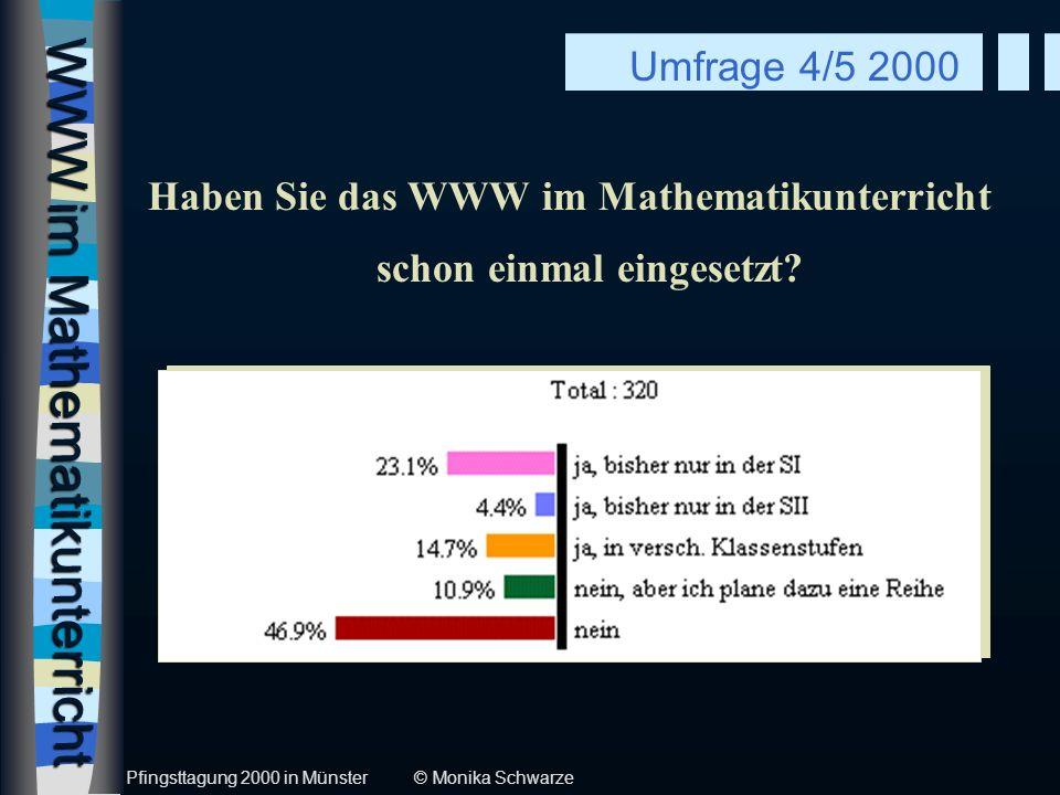 WWW im Mathematikunterricht Haben Sie das WWW im Mathematikunterricht schon einmal eingesetzt? Umfrage 4/5 2000 Pfingsttagung 2000 in Münster © Monika