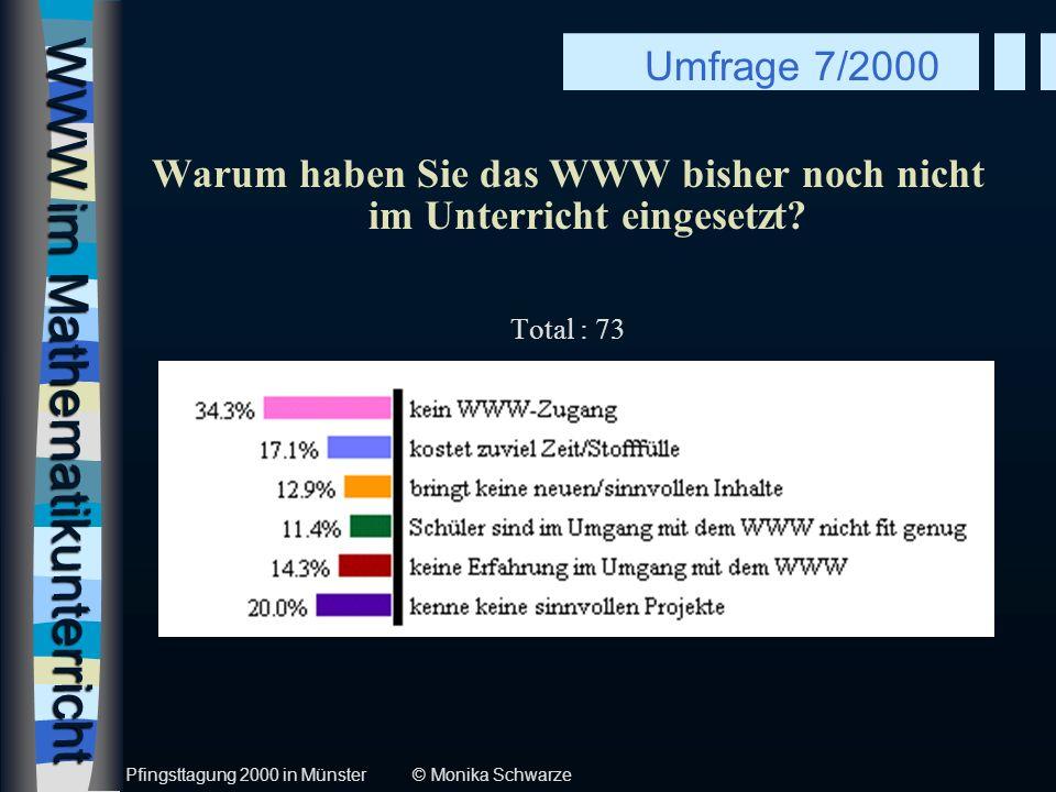 WWW im Mathematikunterricht Warum haben Sie das WWW bisher noch nicht im Unterricht eingesetzt? Total : 73 Umfrage 7/2000 Pfingsttagung 2000 in Münste