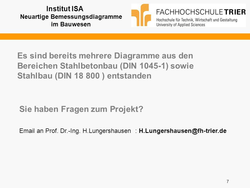 7 Sie haben Fragen zum Projekt? Email an Prof. Dr.-Ing. H.Lungershausen : H.Lungershausen@fh-trier.de Institut ISA Neuartige Bemessungsdiagramme im Ba