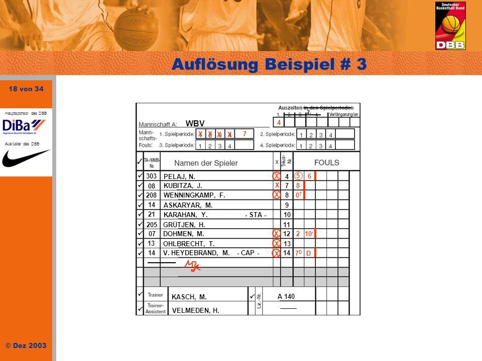 18 von 34 © Dez 2003 Hauptsponsor des DBB Ausrüster des DBB Auflösung Beispiel # 3 WBV 303 PELAJ, N.4 08 KUBITZA, J.7 208WENNINGKAMP, F.8 14 ASKARYAR,