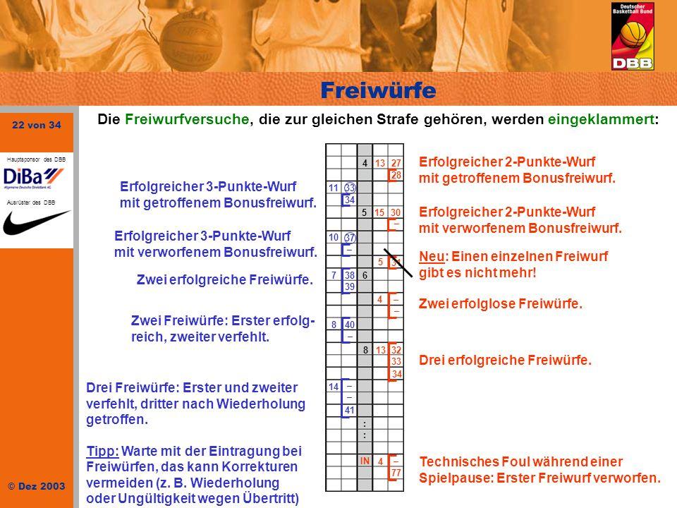 22 von 34 © Dez 2003 Hauptsponsor des DBB Ausrüster des DBB Freiwürfe Die Freiwurfversuche, die zur gleichen Strafe gehören, werden eingeklammert: Erf