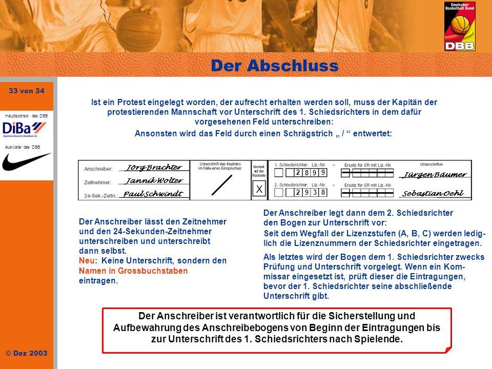 33 von 34 © Dez 2003 Hauptsponsor des DBB Ausrüster des DBB Der Abschluss Der Anschreiber lässt den Zeitnehmer und den 24-Sekunden-Zeitnehmer untersch