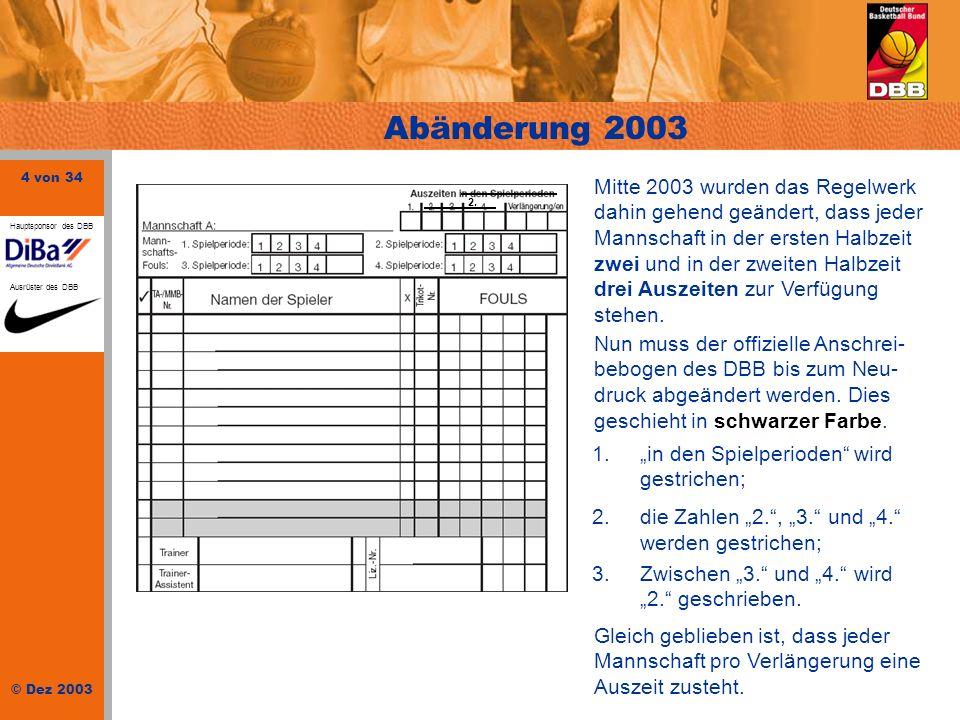 25 von 34 © Dez 2003 Hauptsponsor des DBB Ausrüster des DBB Identitätsüberprüfung Jedes fehlende Häkchen beim Spieler/Trainer bedeutet, dass eine Beanstandung vorliegt.