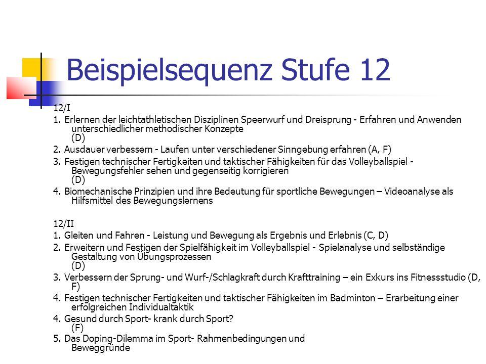 Beispielsequenz Stufe 12 12/I 1. Erlernen der leichtathletischen Disziplinen Speerwurf und Dreisprung - Erfahren und Anwenden unterschiedlicher method