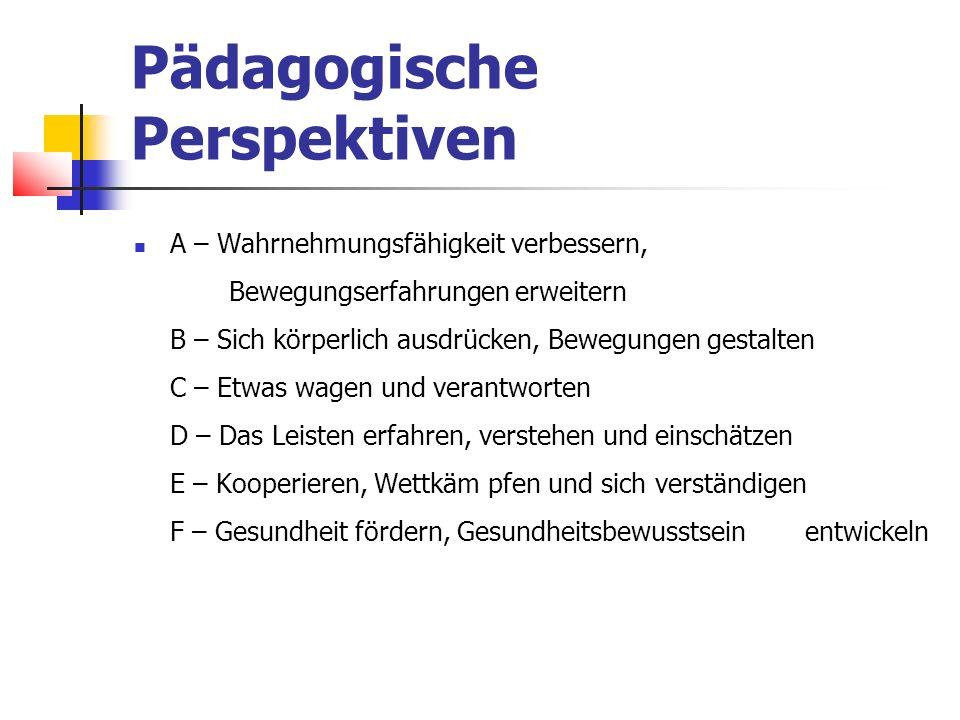 Pädagogische Perspektiven A – Wahrnehmungsfähigkeit verbessern, Bewegungserfahrungen erweitern B – Sich körperlich ausdrücken, Bewegungen gestalten C