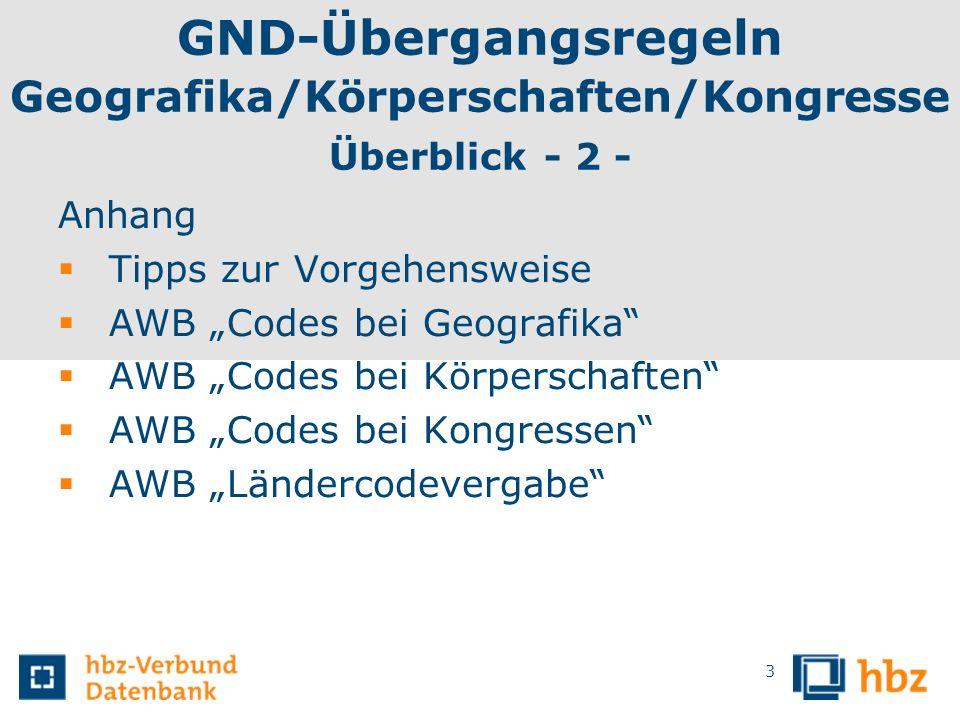 GND-Übergangsregeln Geografika/Körperschaften/Kongresse Was ist neu für alle drei Entitäten.