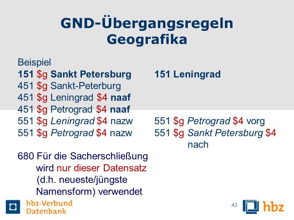 GND-Übergangsregeln Geografika Beispiel 151 $g Sankt Petersburg 151 Leningrad 451 $g Sankt-Peterburg 451 $g Leningrad $4 naaf 451 $g Petrograd $4 naaf