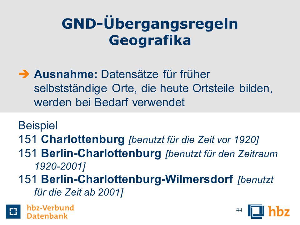 GND-Übergangsregeln Geografika Ausnahme: Datensätze für früher selbstständige Orte, die heute Ortsteile bilden, werden bei Bedarf verwendet Beispiel 1