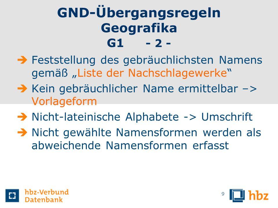 GND-Übergangsregeln Geografika G1 - 2 - Feststellung des gebräuchlichsten Namens gemäß Liste der Nachschlagewerke Kein gebräuchlicher Name ermittelbar