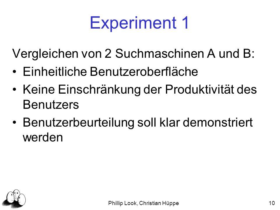 Phillip Look, Christian Hüppe10 Experiment 1 Vergleichen von 2 Suchmaschinen A und B: Einheitliche Benutzeroberfläche Keine Einschränkung der Produkti