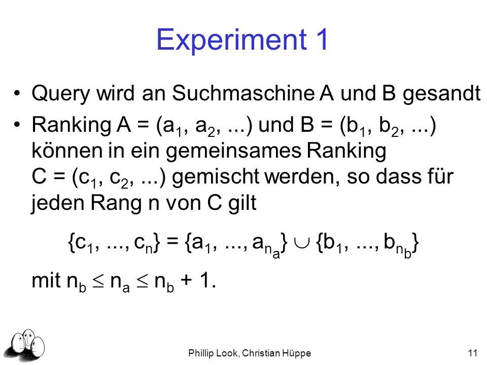 Phillip Look, Christian Hüppe11 Experiment 1 Query wird an Suchmaschine A und B gesandt Ranking A = (a 1, a 2,...) und B = (b 1, b 2,...) können in ei