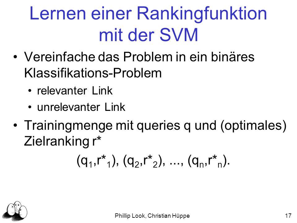 Phillip Look, Christian Hüppe17 Lernen einer Rankingfunktion mit der SVM Vereinfache das Problem in ein binäres Klassifikations-Problem relevanter Lin